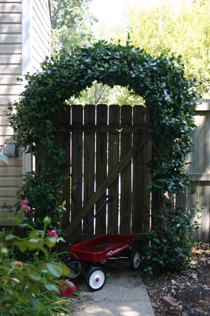 arbor with wagon