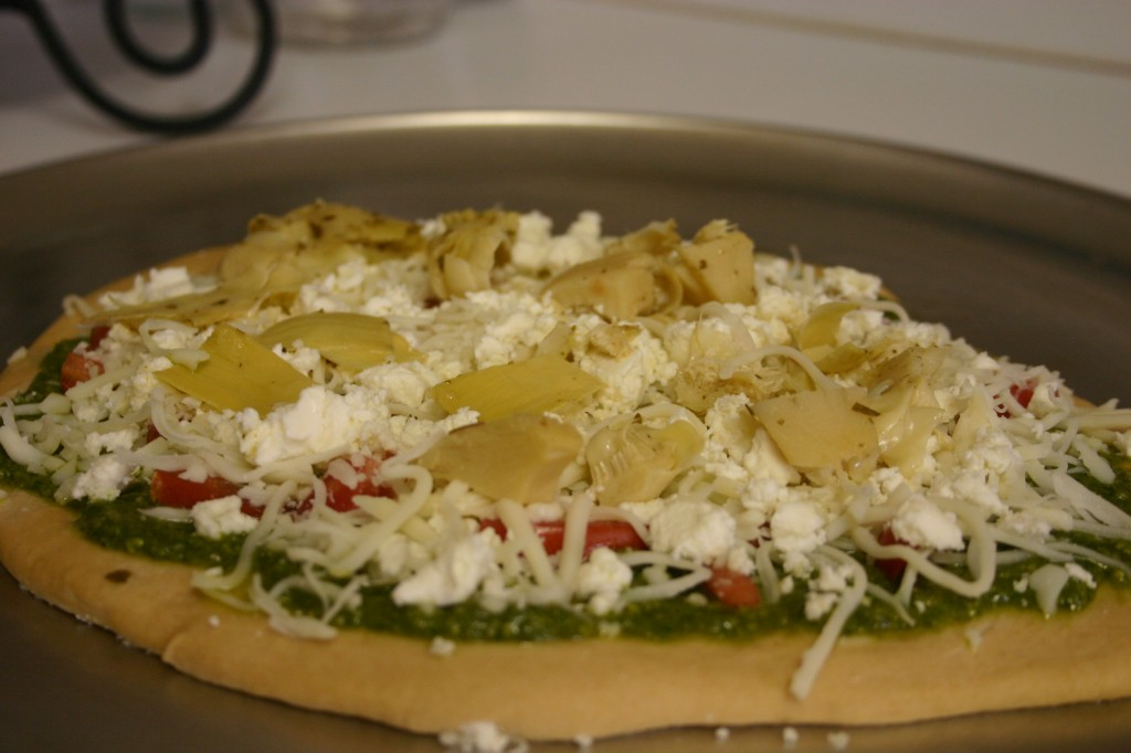 homemade pesto pizza