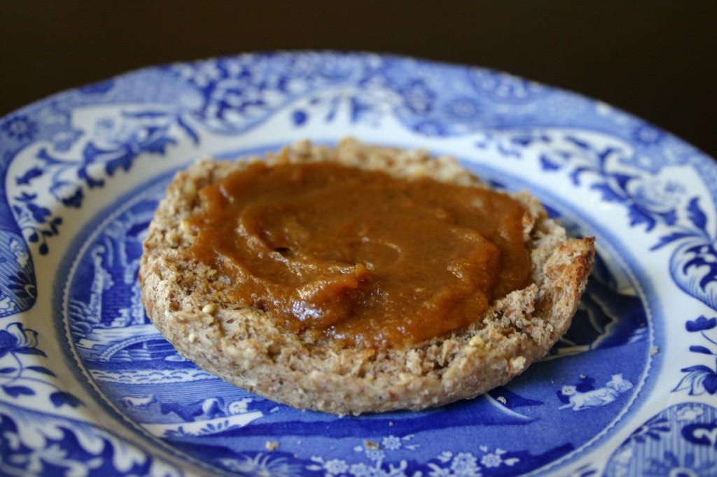 pumpkin butter on english muffin
